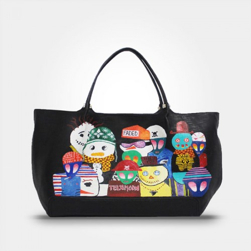 HAND PAINTED LEATHER TOTE